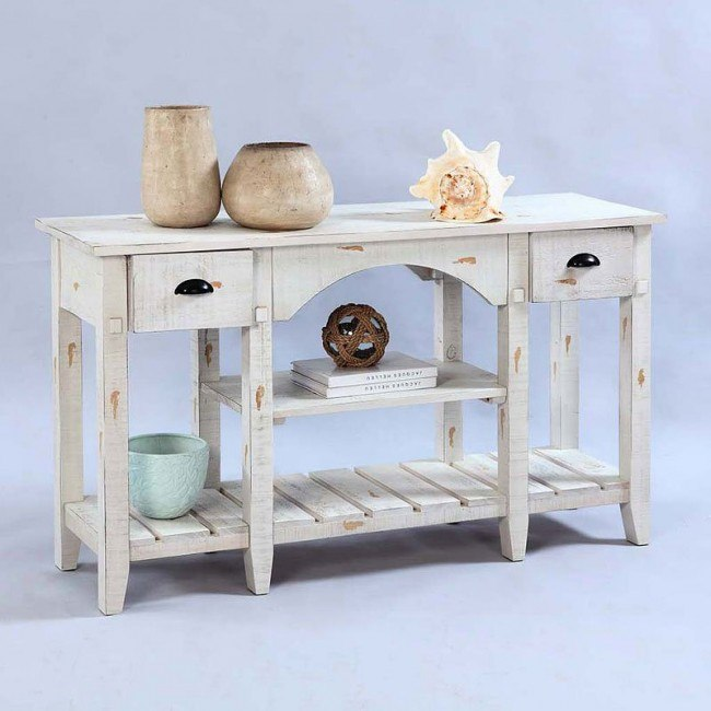 Willow Console Table Distressed White