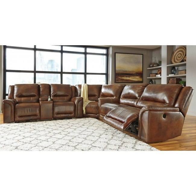 Jayron Leather Reclining Sectional