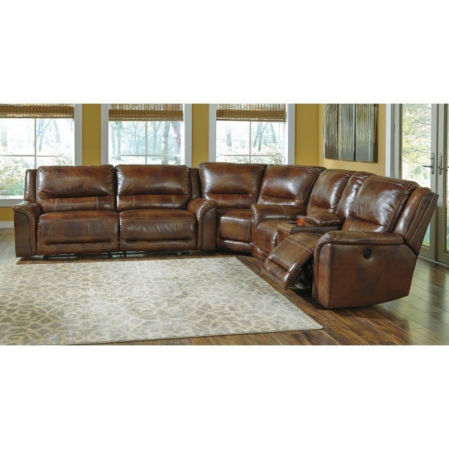 Jayron Leather Power Reclining Sectional By Signature Design By