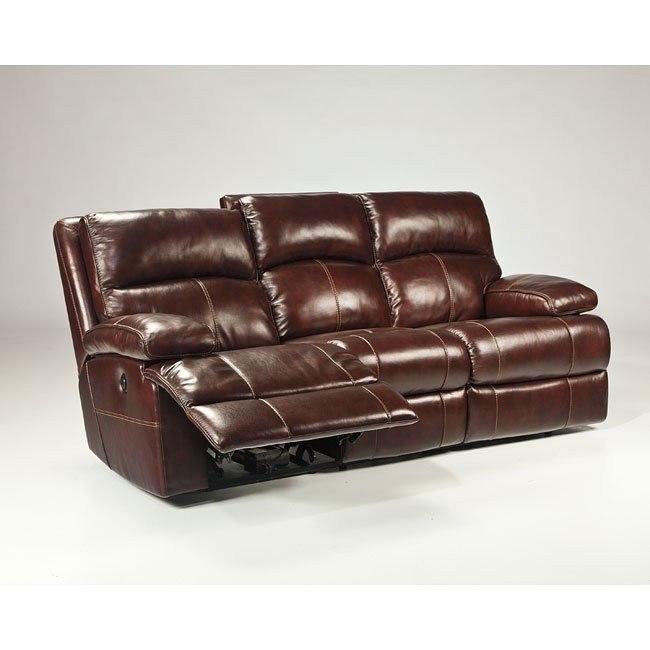 Lensar Burgundy Reclining Sofa w/ Power