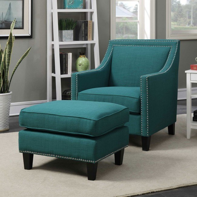 Awesome Erica Accent Chair W Ottoman Teal Creativecarmelina Interior Chair Design Creativecarmelinacom