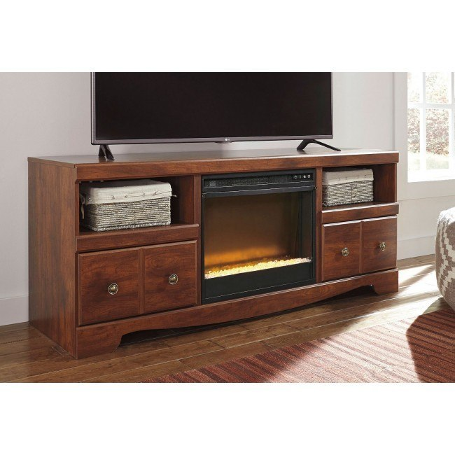 Brittberg Large TV Stand w/ Glass and Stone Fireplace