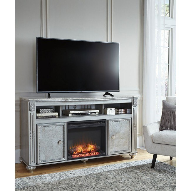 Zolena Large TV Stand w/ Fireplace and Audio Options