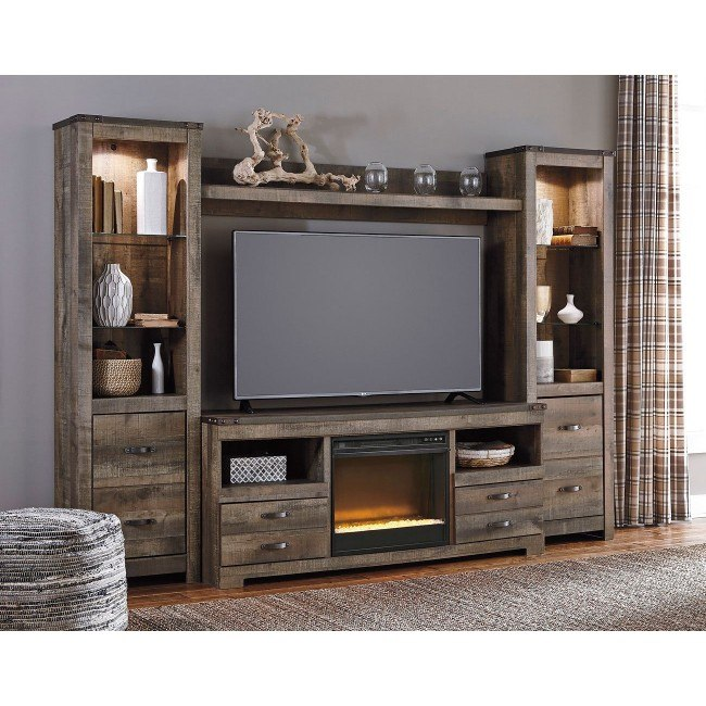 Trinell Entertainment Wall w/ Glass and Stone Fireplace