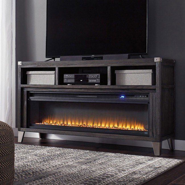 Todoe Large Tv Stand W Fireplace By Signature Design By