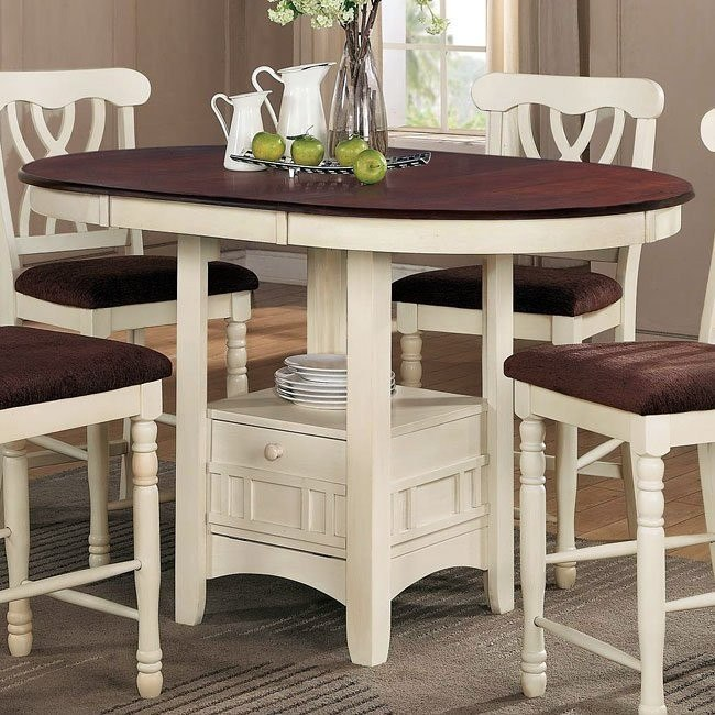 Addison Counter Height Table (White/ Cherry)