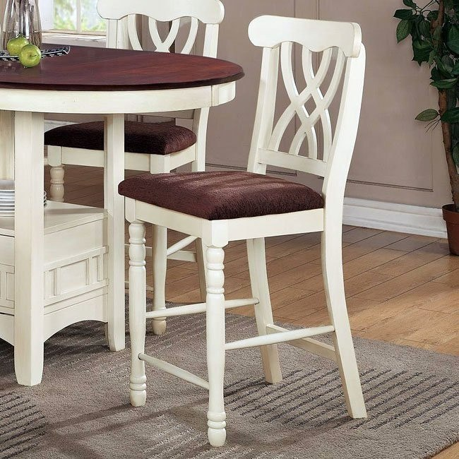 Addison Counter Height Chair (White/ Cherry) (Set of 2)