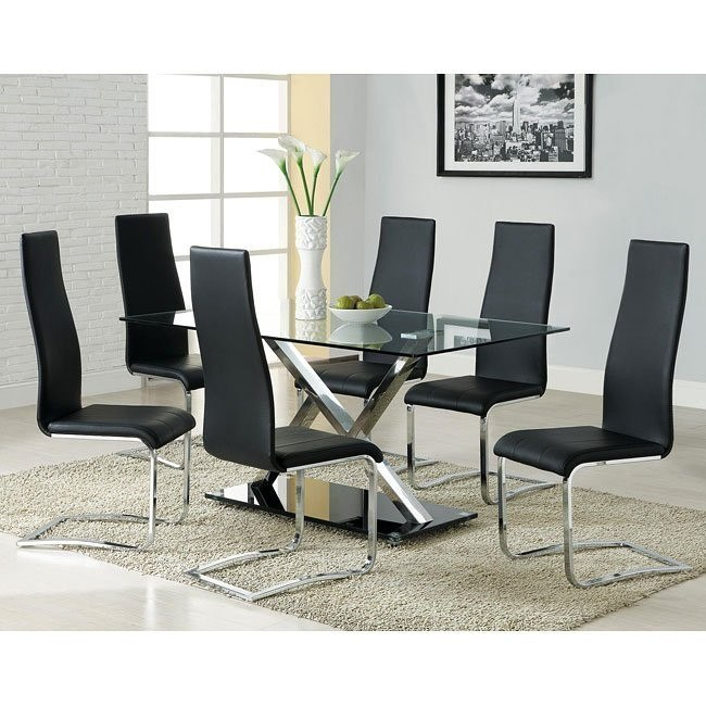 Modern Chrome Dining Room Set w/ Black Chairs