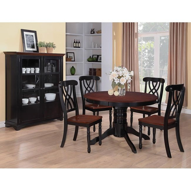 Addison Round Dining Room Set (Black/ Cherry)