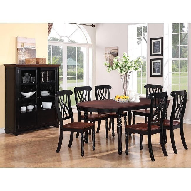Addison Oval Dining Room Set (Black/ Cherry)