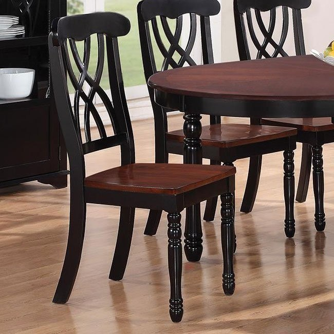 Addison Side Chair (Black/ Cherry) (Set of 2)