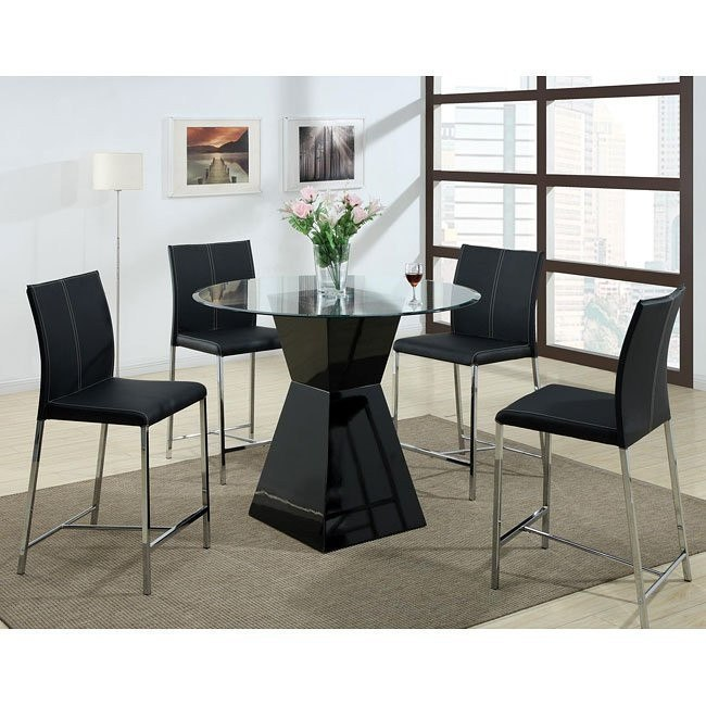 Modern Counter Height Dinette w/ Black Chairs