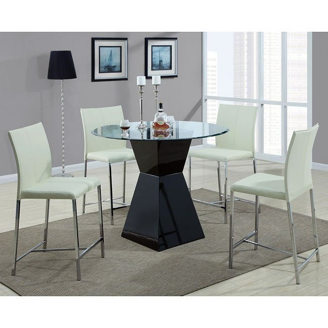 Modern Counter Height Dinette w/ Cream Chairs