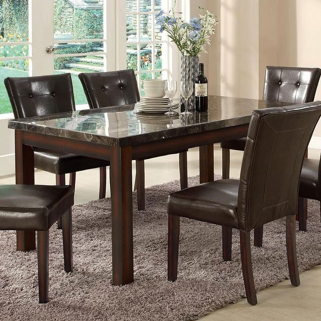 Milton Rectangular Dining Table w/ Dark Marble Top