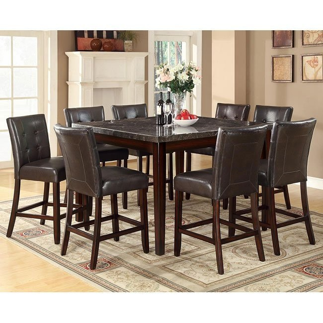 Milton Counter Height Dining Set w/ Dark Marble Table
