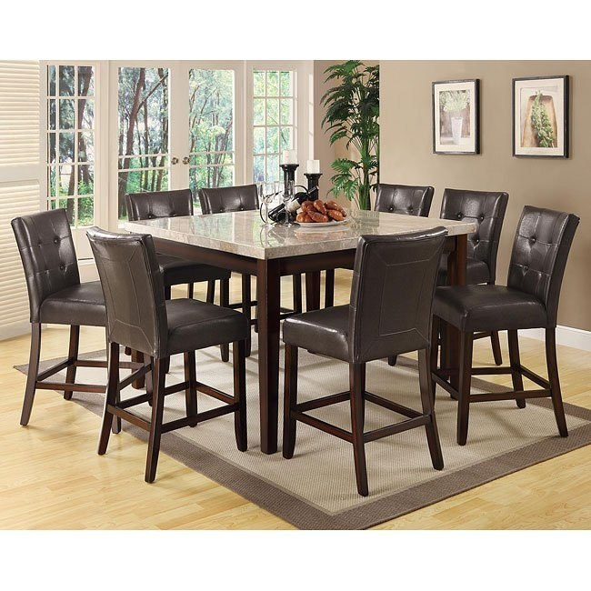 Milton Counter Height Dining Set w/ Light Marble Table