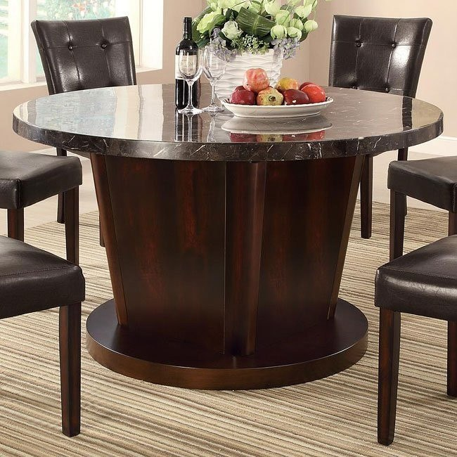 Milton Round Dining Table w/ Dark Marble Top