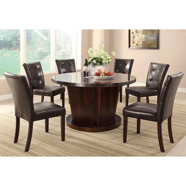 Milton Round Dining Room Set w/ Dark Marble Table