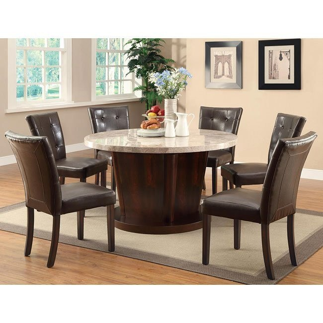 Milton Round Dining Room Set w/ Light Marble Table