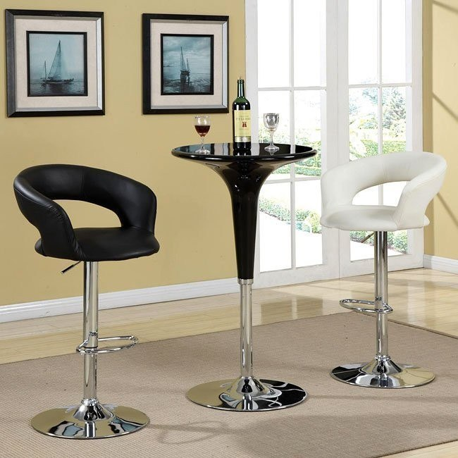 Bar Table Set w/ Black Adjustable Bar Table