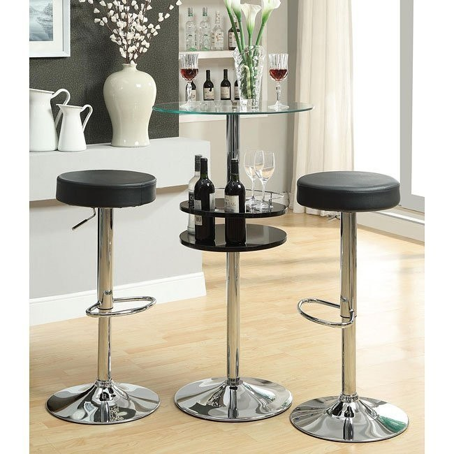 Black Bar Table Set w/ Wine Storage