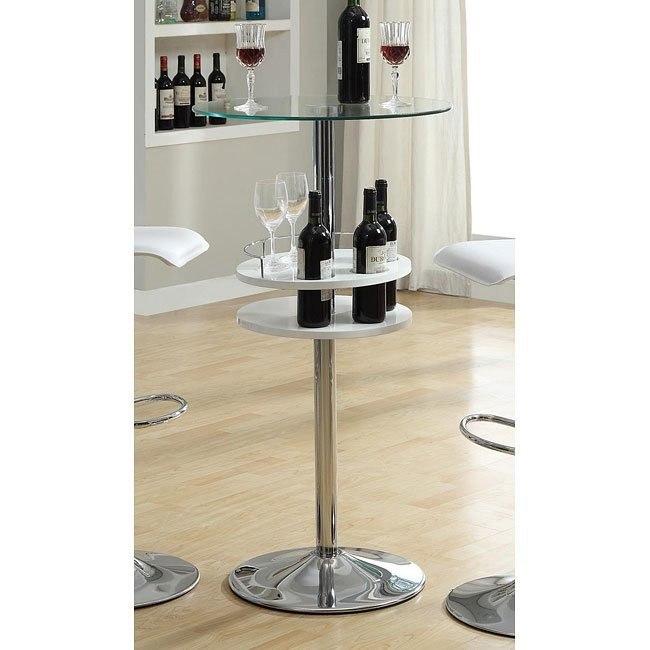 White Bar Table w/ Wine Storage