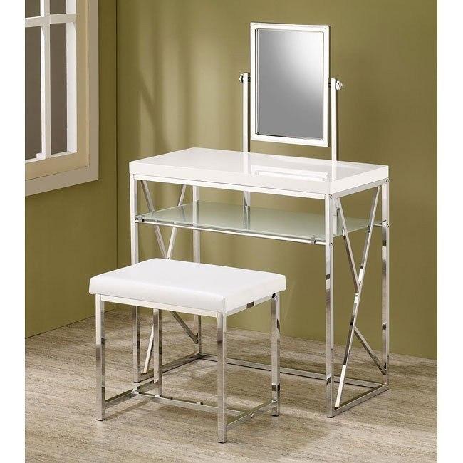 Modern 2-Piece Vanity Set (White)