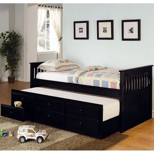 La Salle Twin Bed w/ Trundle (Black)