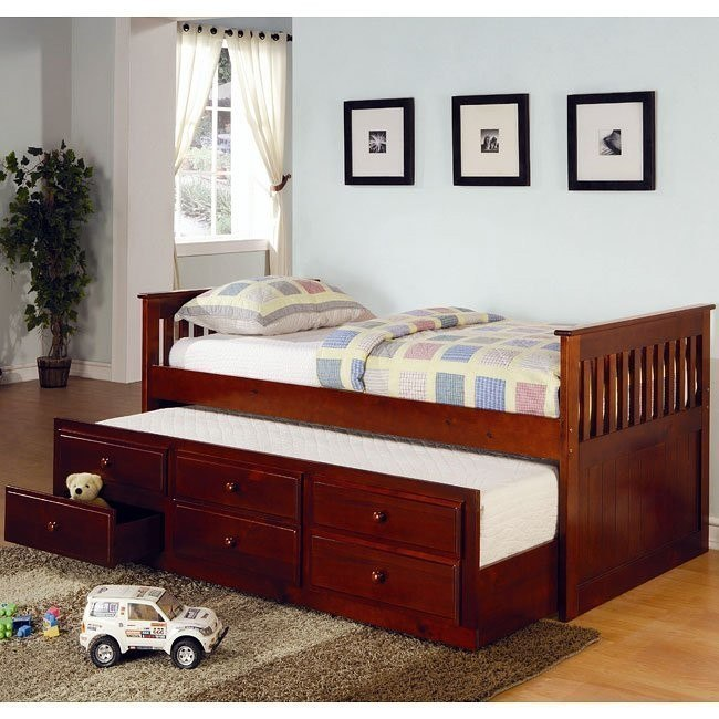 La Salle Twin Bed w/ Trundle(Cherry)