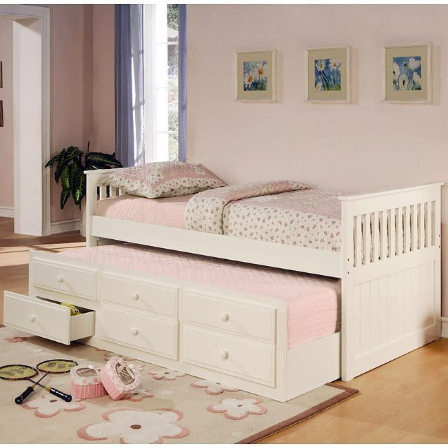 La Salle Twin Bed w/ Trundle (White)