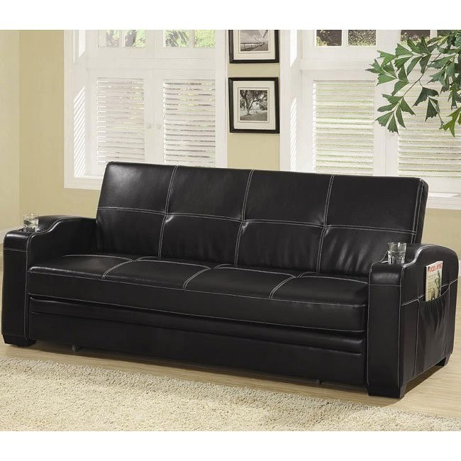 Awe Inspiring Black Faux Leather Sofa Bed Squirreltailoven Fun Painted Chair Ideas Images Squirreltailovenorg