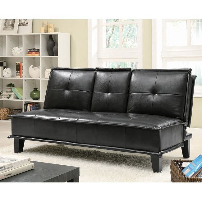 Black Leather-Like Sofa Bed w/ Cupholders by Coaster Furniture, 1 ...