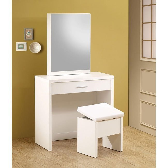 Contemporary 2-Piece Vanity Set (White)