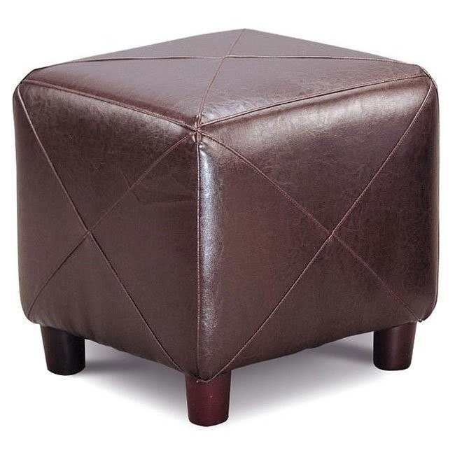 Faux Leather Ottoman (Dark Brown)