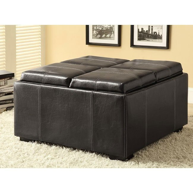 Storage Ottoman w/ Cup Holders and Serving Trays