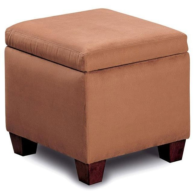 Soft Microfiber Lift-Top Ottoman (Brown)