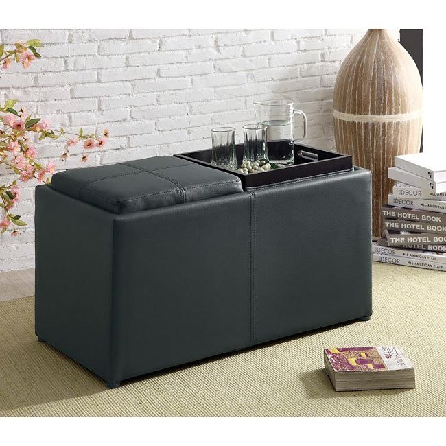 Storage Ottoman w/ Extra Seating and Serving Trays