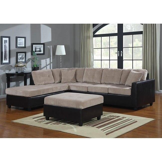 Henri Sectional Living Room Set (Beige/ Black)