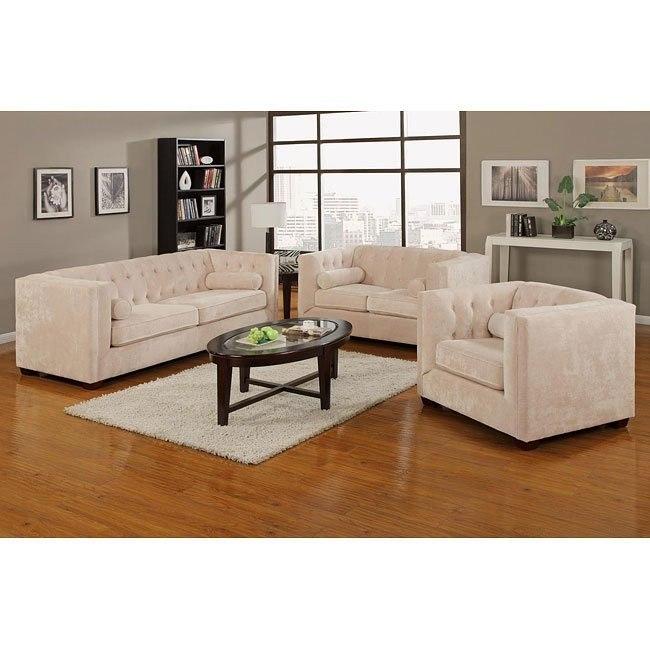 Alexis Living Room Set (Almond)