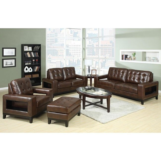 Paige Living Room Set (Brown)