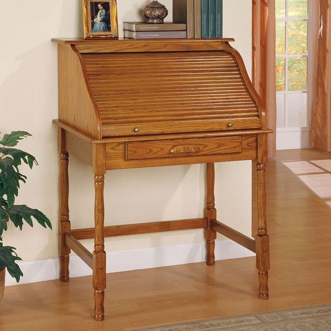 Palmetto Small Roll Top Secretary Desk (Oak)