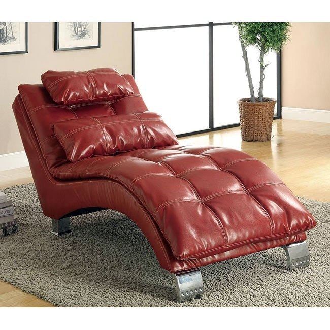 Leather-Like Vinyl Chaise (Red)