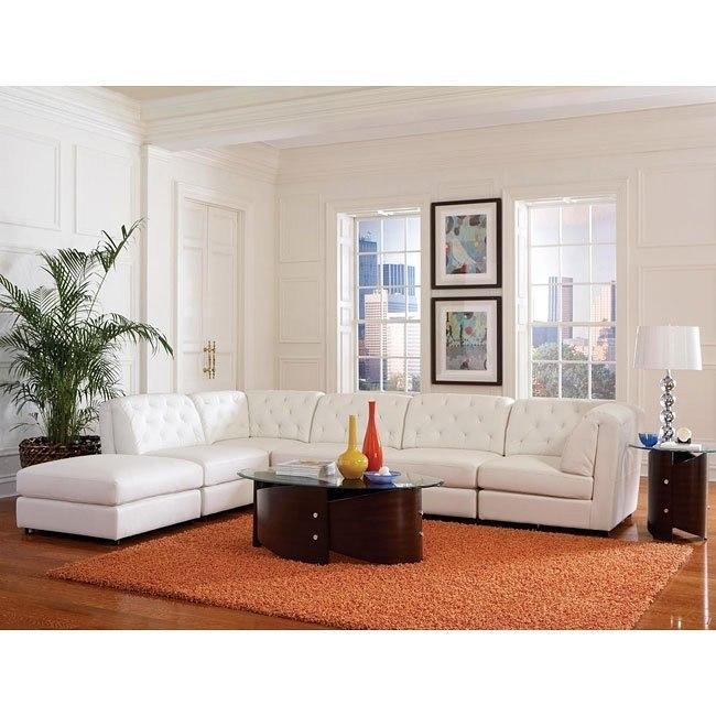 Quinn Sectional Living Room Set (White)