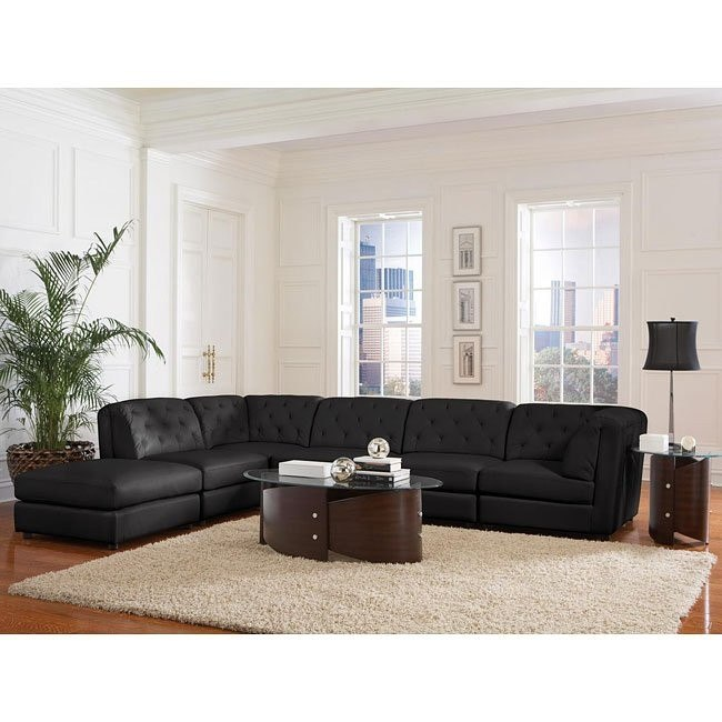Quinn Sectional Living Room Set (Black)