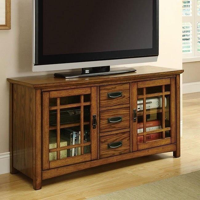 Brown Oak TV Console with Doors