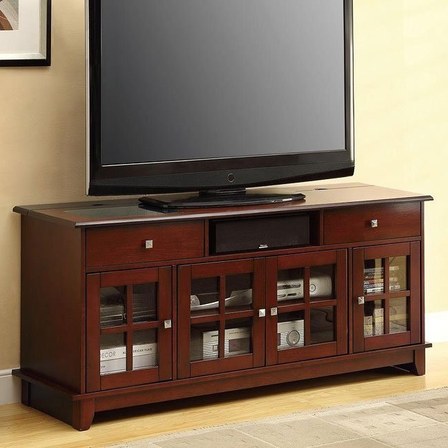 Connect-It TV Console in Brown Cherry