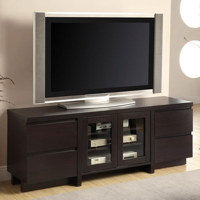Contemporary TV Stand in Cappuccino