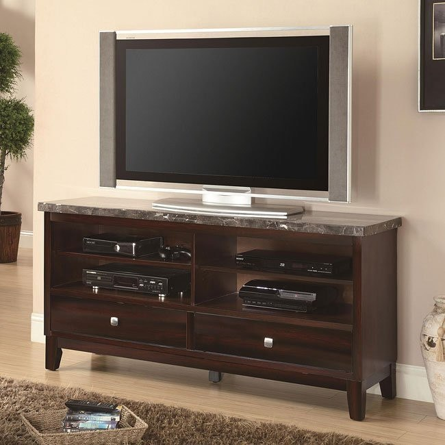 TV Cabinet w/ Dark Marble Top