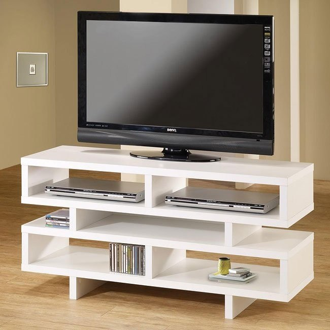 White TV Console with Open Storage