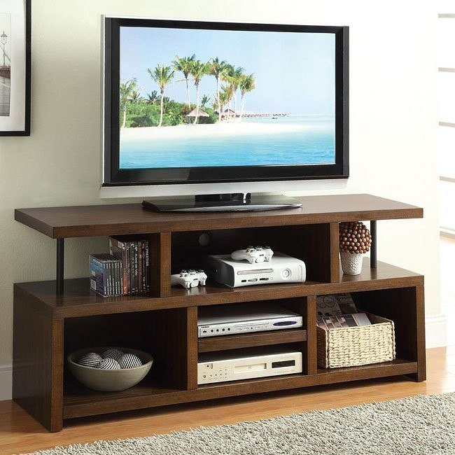 Brown TV Console with Open Storage